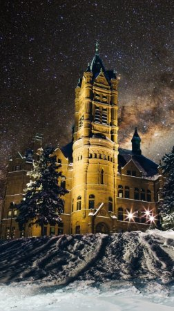Crouse College, Snow, New York, winter, the Milky Way, lights, night, United States 480x854